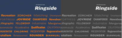 Ringside comes with 6 widths' each of which has 8 weights + italics.