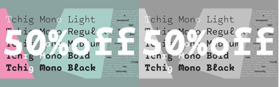 Tchig Mono by @SchizotypeFonts. 50% off until April 12.