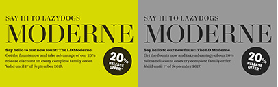 @lazydogtype released LD Moderne' LD Moderne Fat' and LD Alena. Introductory offer 20% off.