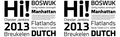 Polygonal typefaces' Brooklyn and Brooklyn Stencil from Constellation and designed by Chester Jenkins.