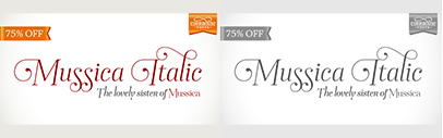 Corradine Fonts released Mussica Italic. 75% off until January 27.