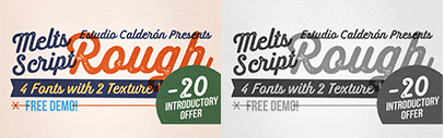 Melts Script Rough by Estudio Calderón. 20% off until February 26th.