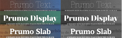 Prumo' a new typeface by DSType. A mega family of 92 fonts' from Display to Slab' plus 4 layered Poster styles.
