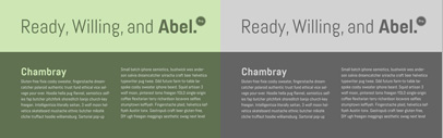 Abel Pro: a squarish and condensed sans serif by Matt Desmond.