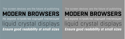 Boxed' a squarish typeface supporting Cyrillics' by Tipo Pèpel. Introductory offer 70% off till March 26th.