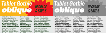 Tablet Gothic Oblique' new additonal styles for Tablet Gothic' by Type Together.