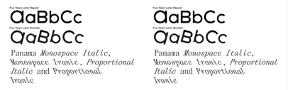 The Temporary State added Rotalic to Five Years Later' and Italic and Backslant to Panama.