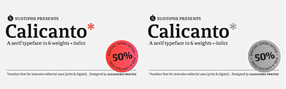 Sudtipos released Calicanto designed by Alejandro Freitez.