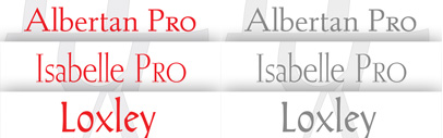 Remastered versions of Albertan Pro' Isabelle Pro' and Loxley by Canada Type.
