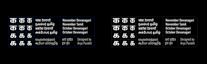 November and October now support Devanagari and Tamil.