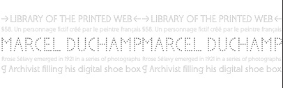 Sélavy' a dotted typeface loosely based on the 13 punched-out caps on Marcel Duchamp's 1934 Green Box (LA MARIEE MISE A NU PAR SES CELIBATAIRES MEME).