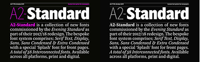 A2-Type released A2 Standard Text' Display' Sans' Condensed' X Condensed' Splash and Engraved.