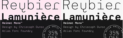 Heimat Mono and Heimat Stencil by Atlas Font Foundry are $159 instead of $249 till June 4th.