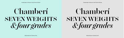Extratype released Chamberí originally designed for Vogue España. It comes in 4 optical sizes' each of which has 7 weights + Italics.