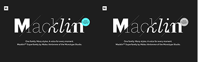Monotype released Macklin' which comes with Text' Display' Slab' and Sans. Variable font versions are also available.
