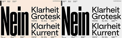 Extraset launched. Nein' Klarheit Grotesk' Klarheit Kurrent' Peak' Peak Rounded' and Rebond Grotesque are available.