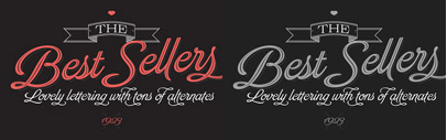 Brand: a script typeface includes inline and shaded versions.