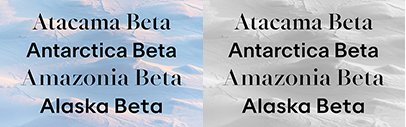 Newglyph' a new foundry specializing in variable fonts' is online. Alaska Beta' Amazonia Beta' Antarctica Beta' and Atacama Beta are available.