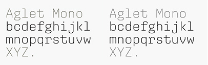 XYZ Type released Aglet Mono. It comes in 7 weights + italics.
