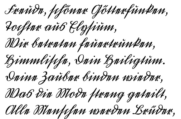 Modern german handwriting