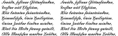 Deutschkurrent' a handwriting typeface with an old form of German language handwriting. Italics of Rolls and Polo Eng are available' too.