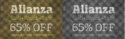 Alianza' comes with three styles; slab' italic and script by Corradine Fonts.