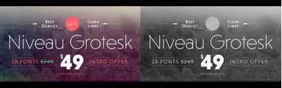 Niveau Grotesk and Niveau Serif by HVD Fonts. The latter has tiny serifs like Serif Gothic and Copperplate Gothic. Just $49 for 18 fonts.