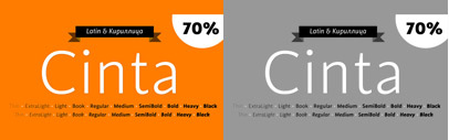 Cinta' a new sans serif by Tipo Pèpel. It also supports Cyrillic characters.