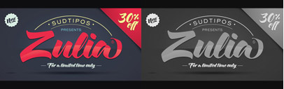 Zulia' based on the calligraphic styles: italic and Brush Pen' by Joluvian and Ale Paul. 30% off till Sep 7.