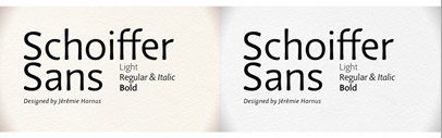 Schoiffer Sans' a sans serif by Jérémie Hornus' the designer of Kefa included with Mac OS X Lion. 50% off till Sep 9.