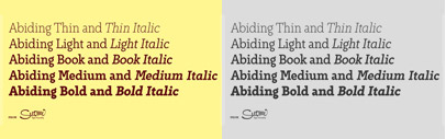 Abiding' a Slab Serif font family of five weights for headline and text use by Suomi.