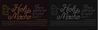 Dot Script' a display typeface built with dots for use at large sizes by Ray Cruz.