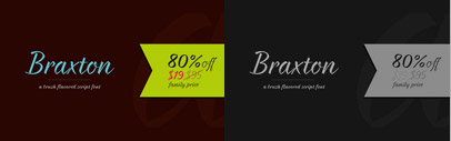 Braxton' brush flavored script font family includes 5 unique font weights. 80% off till September 11.