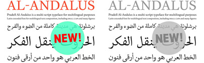 Al-Andalus' the Arabic script that fits with Pradell Roman' includes extended Latin character set together with the Arabic script' including Farsi and Urdu.