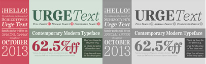 Urge Text' a new text typeface by Schizotype. 62.5% discount on families till Oct 31.