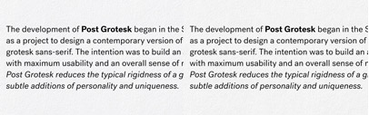 Post Grotesk' a contemporary version of the traditional grotesk sans-serif' by Josh Finklea.