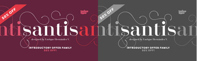 Santis by Latinotype' a modern serif with swashes. 50% off till Dec 14.