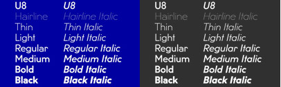 Fatype released the italic styles of U8. The family now consists of 14 styles.