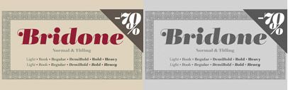 Bridone' a modern serif between British slab serifs and Didones' by Josep Patau Bellart. 70% off till January 12.