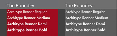 Foundry Architype Renner as a new four weight family has been developed from the original Renner Regular and Bold' created by The Foundry for their first Architype Collections in the early 1990s. This new family features the old style figures and the experimental elements.
