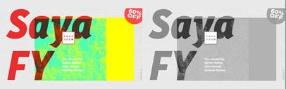 Saya FY' designed by Adrien Midzic' Alisa Nowak and Jérémie Hornus' published by FONTYOU. 60% off till February 23.