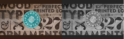 Brandon Printed is based on the famous Brandon Grotesque typeface. It has an eroded' printed look with four variations of every letter. 70% off till March 1.