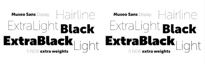 Museo Sans Display: 5 new weights for Museo Sans