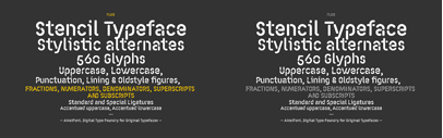 Fluo' a stencil-ized rounded sans by AinsiFont