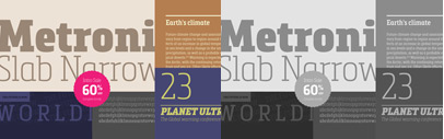 Metronic Slab Narrow is the condensed version of the Metronic Slab font family. Metronic Slab Narrow Complete is 60% off till March 1.