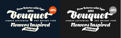 Bouquet' a heavy script' supporting Latin and Cyrillic. 30% off till Feb 23.