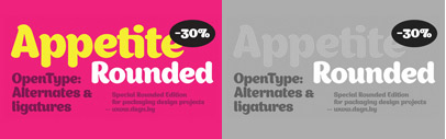 Appetite Rounded' a rounded version of the Appetite Typeface. 30% off till May 9.