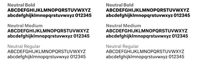 Neutral by @kaibernau was constructed based on a set of parameters derived by measuring and averaging a number of popular 20th-century Sans Serif fonts.