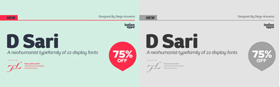 DSari' a warm sans serif by @Latinotype. DSari Family is 75% off till June 9.
