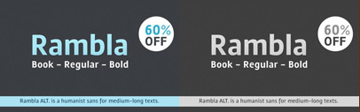 Rambla Alt' a humanist sans' is 60% off until Jul 4
